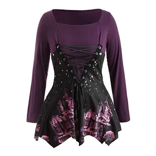 us Size Gedruckt Bandage Lose Casual Langarm Tunika Bluse Lace Up Top Shirt Oberteile Tuniken ()