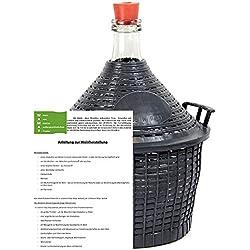 Weinballon mit Kunststoffkorb + Gummistopfen Glasflasche Glasballon 34 L