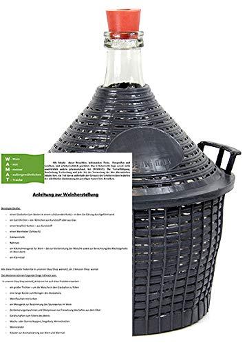 Weinballon mit Kunststoffkorb + Gummistopfen Glasflasche Glasballon 15 L