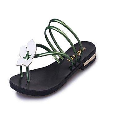 zhENfu donna pantofole & amp; flip-flops Estate Esterno in similpelle abito tacco basso fiore a piedi Green