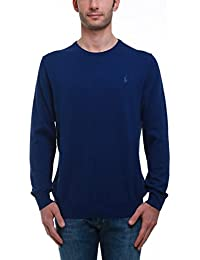 Ralph Lauren ROYAL BLUE COTTON CREW NECK SWEATER, Homme.