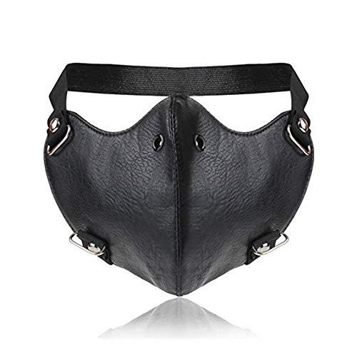 Dulan Steampunk Abbigliamento Uomo PU Moto in Pelle Maschera Anti-Nebbia for Biker Cosplay Mask (Color : Black)