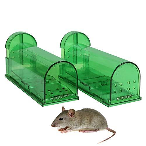 Aookey 2stuks mäusefalle, Milieuvriendelijke rattenfallen, muis lebendfallen aas levend geval-professinonelle kastenfalle voor tuin & huis -
