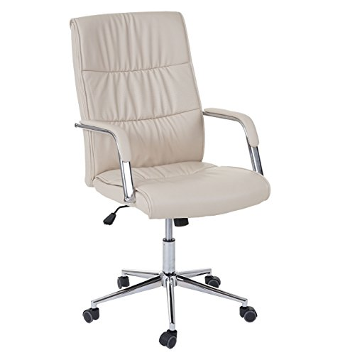Mendler Bürostuhl HWC-A49, Schreibtischstuhl Drehstuhl Chefsessel, Kunstleder ~ Creme