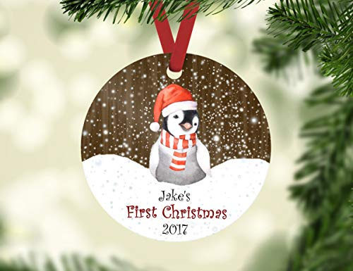 Dozili Baby 's First Christmas Ornament Personalisierte Weihnachtspinguin Ornament Pinguin Ornament Kind aus Holz