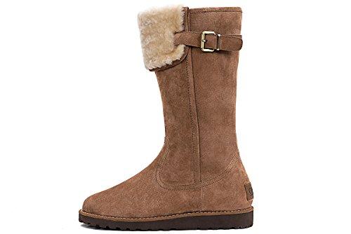 OZZEG Fourrure neige bottes en cuir Slip de la femme on hiver chaussures en peau de mouton laine Brun