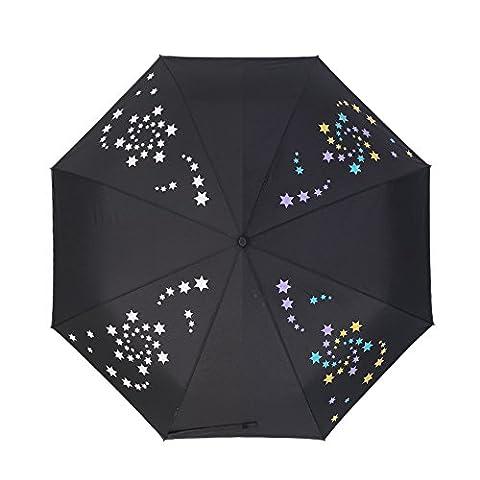 Neuleben Farbwechsel Automatisch Regenschirm Taschenschirm mit Stern Kompakt Leicht (Schwarz)