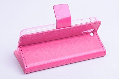 Baiwei Pu Leder Kunstleder Flip Cover Tasche Handyhülle Case für Asus PadFone S X Tasche Hülle Case Handytasche Handyhülle Etui (Rose Rot mit Stand)