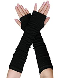 sourcingmap Women Elbow Length Arm Warmer Gloves Thumbhole Fingerless 1 Pairs