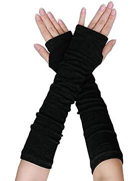 Schwarz Gestrickt Acryl Fingerlose Lange Handschuhe Handstulpen Paar