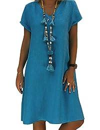25bd96c1f9a Yidarton Robe Été Femme de Plage Rétro Robes Col V Lin Robes au Genou  Manches Courte