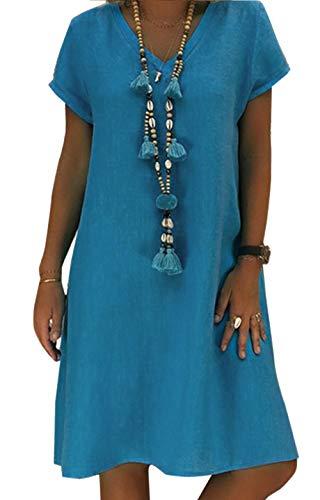 Yidarton Robe Été Femme de Plage Rétro Robes Col V Lin Robes au Genou Manches Courte Unie Casual Tuniques Ample sans Accessoires
