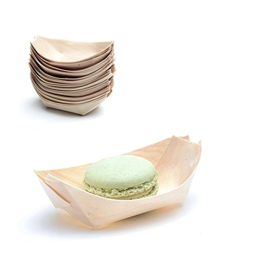 Casparo Eco Design 100 x Snackschalen Natur | 100{d13bc02830e3bb69a9854bc306dc2f1a233558e90746ccebdd49dd3b16681be2} kompostierbar & nachhaltig | edel & dekorativ | Bio Einweg-Geschirr | Einwegschalen perfekt für Finger-Food | Party-Geschirr Holzschiffchen