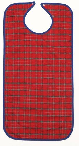 Kleidungsschutz / Esslatz lang mit Auffangtasche rot