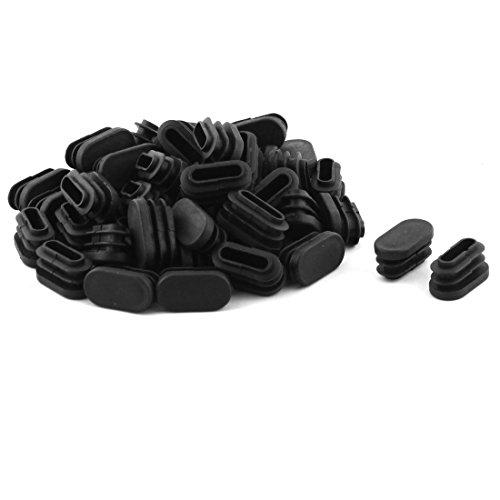 Sourcingmap® Forme Ovale Plastique Tuyau Tube Embouts Embouts Couvre Noir 30 x 15mm 50pcs
