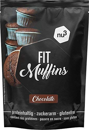 nu3 Fit Protein Muffins | Schokoladen Geschmack | 240g Backmischung | 90{39490cc38af952647724e451c4b0136baf1e38dda1c28b6fc56ea86de687db7e} weniger Zucker | reicht für 12 saftige chocolate Low Carb-Muffins | reich an Ballaststoffen | Laktose- und glutenfrei