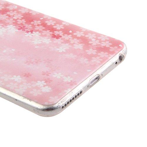 iPhone 6S Hülle,iPhone 6 Hülle [Scratch-Resistant],iPhone 6S / 6 Hülle 4.7, ISAKEN iPhone 6S 6 4.7 Ultra Slim Perfect Fit Bunt Muster TPU Clear Transparent Protective back Hülle Hüllen Beschützer Haut Rosa und weiße kirschblüten
