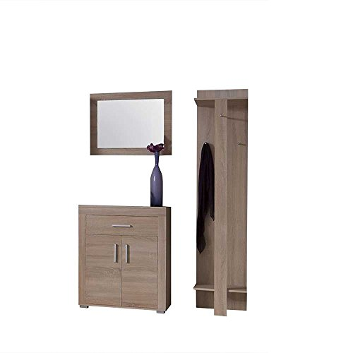 Pharao24 Garderobenmöbel Set Netty in Sonoma Eiche mit Spiegel (3-teilig)