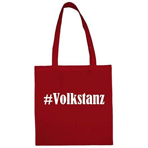Tasche #Volkstanz Größe 38x42 Farbe Rot Druck Weiss