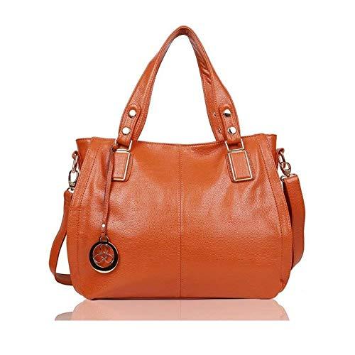 EGOGO Damen Shopper Handtasche Leder Henkeltasche Für Fraun Schultertasche Reisen Arbeit und Einkäufe E522-6 (Braun)