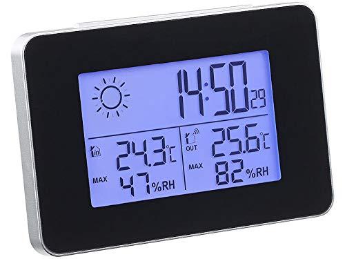 Monsterzeug Funkwetterstation Deluxe mit Außensensor, Weather Station, Batteriebetrieben, Funkuhr mit digitaler Anzeige, Display: 8,2 x 5,1 cm