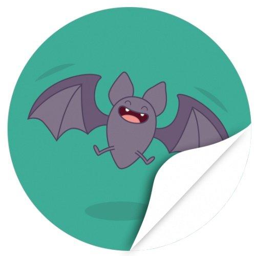 Halloween Dekoration/Aufkleber/Sticker/48 Stück/Lachende Fledermaus groß zum Kleben/Dekorieren/Selbstklebend/Rund, 4cm