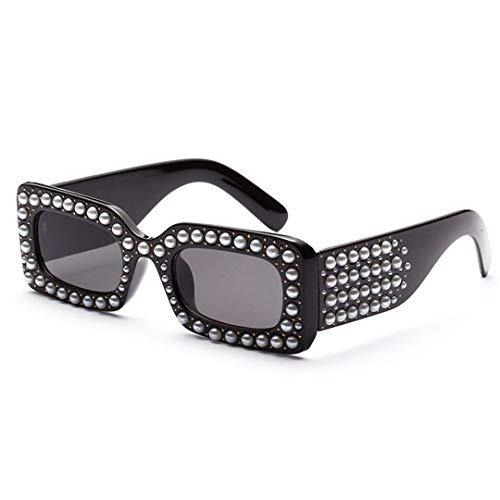 DAIYSNAFDN Quadratische Sonnenbrille Frauen Perle Rihanna Sonnenbrille Perle Frames Lentes Eyewear 6