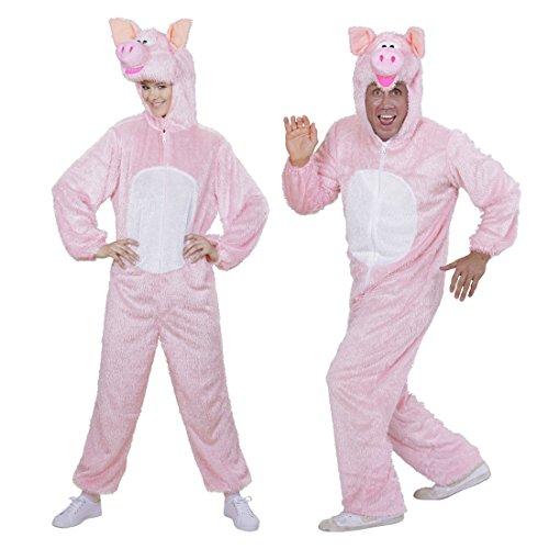 NET TOYS Schweinekostüm Plüschkostüm Schwein mit Maske XL 190 cm Ganzkörperanzug Tierkostüm Plüschoverall Schweinchen Jumpsuit Erwachsene Ganzkörperkostüm Fasching (Nettes Schwein Kostüm)
