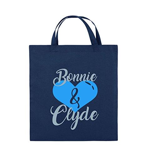 Comedy Bags - Bonnie & Clyde - HERZ MOTIV - Jutebeutel - kurze Henkel - 38x42cm - Farbe: Schwarz / Weiss-Neongrün Navy / Eisblau-Hellblau