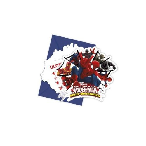 Ultimate Spiderman Web Warriors-Die-cut Invitations & Envelopes , Theme Birthday Party , Kids Party Supplies , Invitation Card (Pack of 6)