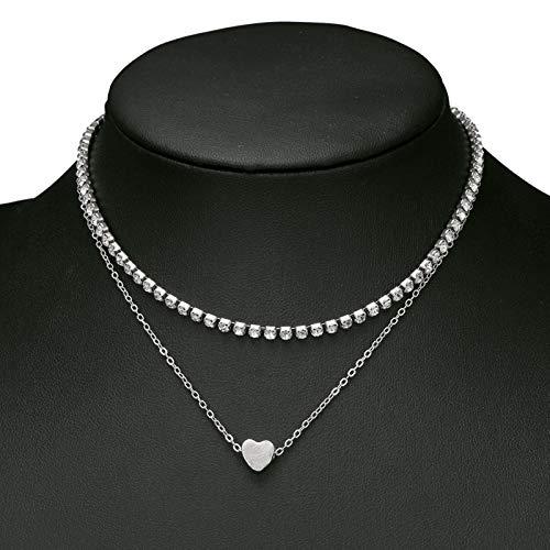 QMangel Damen Halskette,Originale Design Schlanke Minimalistische Heart-Shaped Diamond Intarsien Double-Layer-Halskette Kette Schlüsselbein Persönlichkeit Kleidung Wilde Schmuck Decora Silber