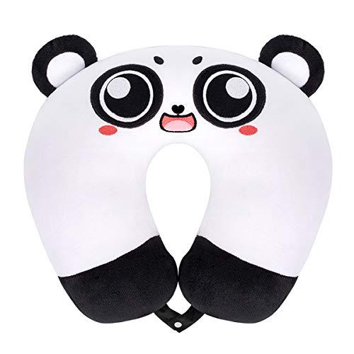 Oreiller Coussin de Voyage Animaux Coussin Repose de Cou en Forme U pour Enfant Coton Peluche Tête Cou SupportParfait Avion Voiture TGV Domicile Voiture (Panda aux Gros Yeux)