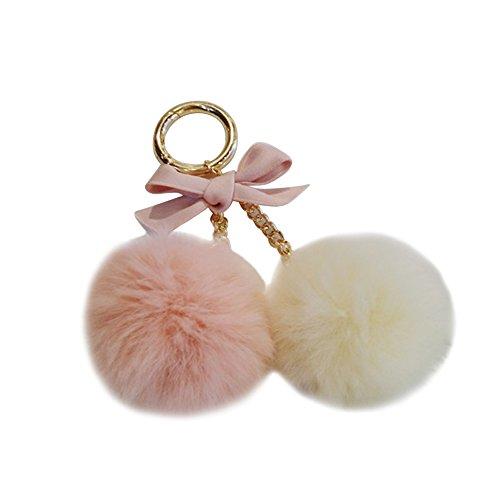 VOBAGA Anelli della catena di fascino Pompon sfera chiave per la borsa o in auto Portachiavi
