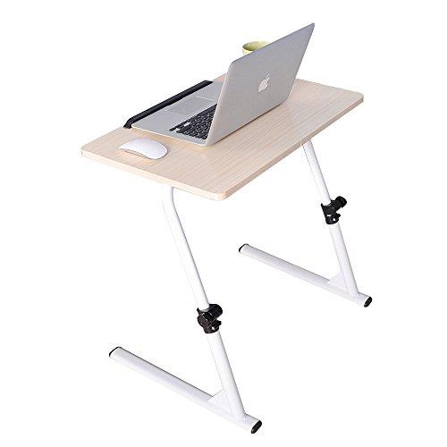 soges Laptoptisch höhenverstellbar, Laptopständer Holz, 80x40cm Betttisch Essentisch Laptoptisch Notebooktisch für Bett und Sofa, Weiß Ahorn S1-2MP-N