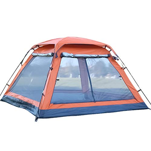 Camping 3-4 Personen Zelt, Vier Ecken Quadratische Spitze Vier Türen Mit Halle Automatisch Wasserdicht Zelt, Sonnencreme Schatten Draussen (Color : Orange)