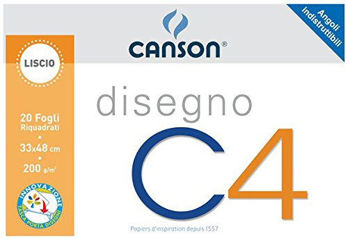 Canson Album da Disegno C4 Liscio riquadrato - 33x48 cm - 200 g/mq - 20-100500454