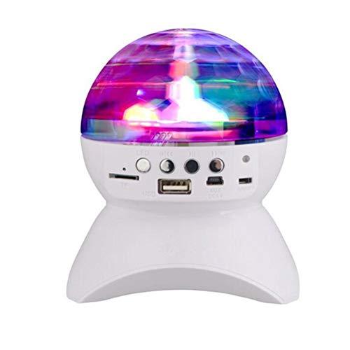 Hemobllo Mini Drahtlose Bluetooth Lautsprecher LED Rotierenden Bühnenlicht Platz Disco Tanzlampe FM USB Stereo DJ Subwoofer (Weiß)