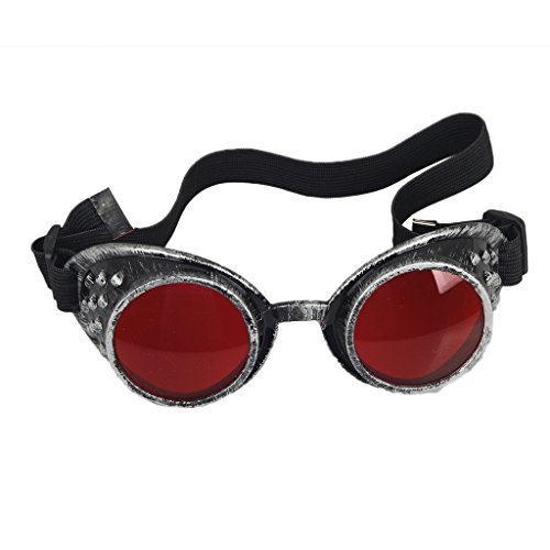FLORATA Welding Goggles in Rustic Steampunk Style Suitable with Eyelets and Elastic Strap for Perfect Fit and Comfort Ideal for Cosplay and Fancy Dress Costumes