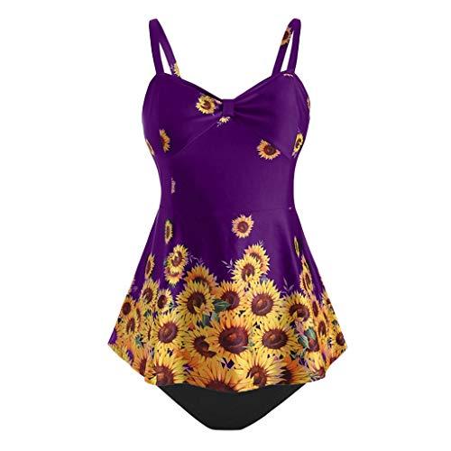 ess V-Ausschnitt Sunflower Print Push-Up Belly Badeanzug Damen Slim Wavy Beach ()