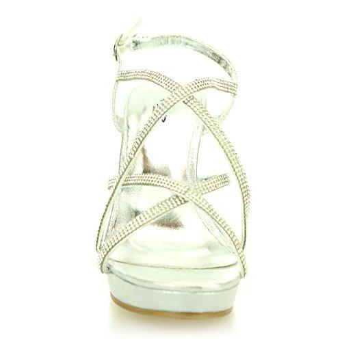 Femmes Dames Diamante Croiser Cage Slingback Talon compensé Soir Mariage Fête Bal de promo Décontractée Des sandales Chaussures Taille Argent