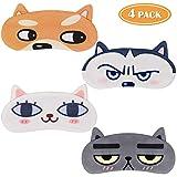 Tacobear 4 pezzi Mascherine per Dormire Divertente Maschera di Sonno Gatto Cane animali Sleep Eye Mask Cover 3D Mascherine Notte per Bambina Donna Viaggio Riposo