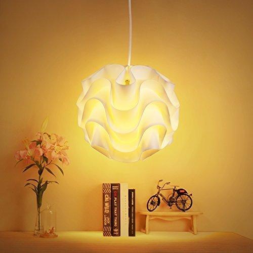 Albrillo Pendelleuchte Hängeleuchte mit dem Lampenschirm aus weißem Stoff, Fassung E27 für 40W
