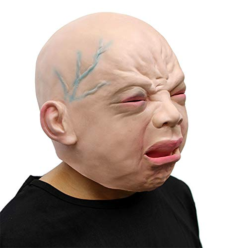 Zhanghaidong Neuheit Deluxe Halloween Kostüm Party Latex Cry Baby Latex Kopf Maske Crying Gesicht Latex Haube Maske Charakter Weinendes Kind Maske Cosplay Weinendes Baby