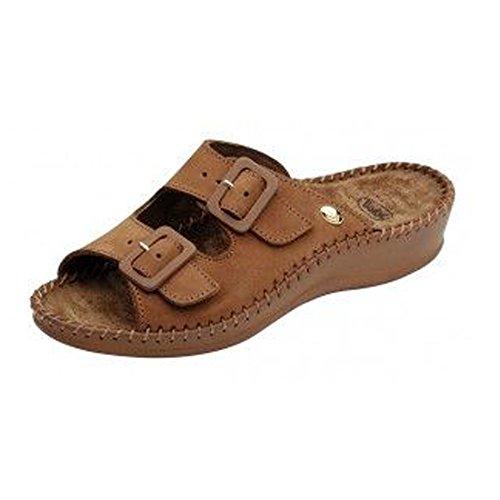 Scholl-Scholl Weekend Tan f200681061Uomo o Donna Sandali Pantoletten pantofole zehent reter, marrone (marrone), 42 EU