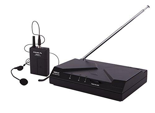 Proel WM101H - radiomicrofono UHF wireless con archetto per canto, sport fitness, karaoke e presentazioni, Nero (WM101H)