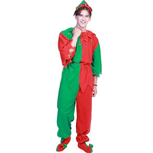 KaiDeng Weihnachtself Kostüme, Frauen Männer Paare Santa Helfer Cosplay Outfit Theme Party (XL) (Männer Outfit Santa)