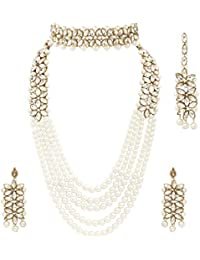 I Jewels Gold Plated and Kundan, Pearl Jewellery Set With Earrings Mang Tika for Women & Girls