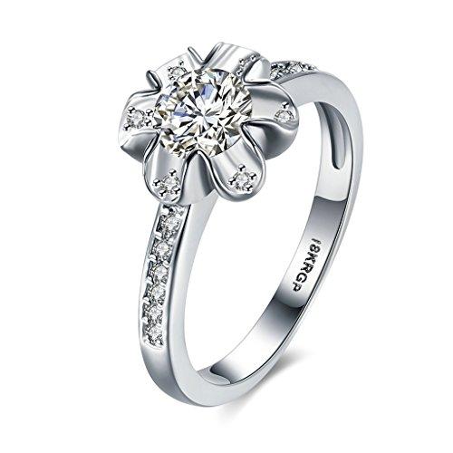 Kostüm Sets Luna Online (Bishilin Modeschmuck 18K Vergoldet Ringe Damen Rundschnitt Zirkonia Trauringe Verlobungsringe Blume Silber Ring Ringgröße 52)