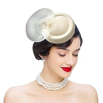 Edith qi Femmes Cappello di Cerimonia,Fascinators Vintage da Donna Vintage Anni '50, portapillole in Feltro di Lana con Fermaglio per Capelli (Avorio)