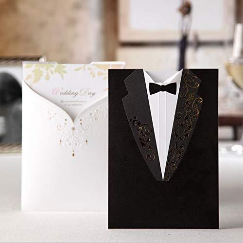 AOWEIRILUV 50 stücke Hochzeitseinladungen Bräutigam und Braut Hochzeit Laden Karten Für Verlobungsfeier